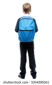 schoolboy with backpack view from behind on white background isolated