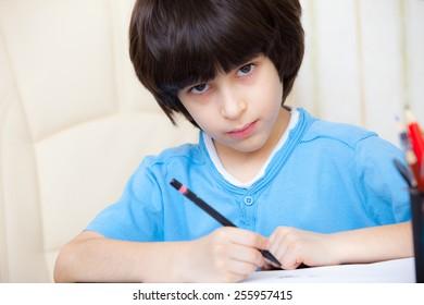 schoolboy doing homework, portrait