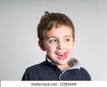 Schoolboy facial expression
