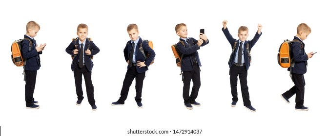 Schoolboy in full-length uniform. Different poses and emotions. Collage. Isolated on white background.
