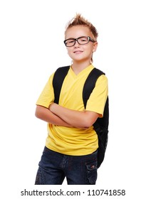 Schoolboy in glasses isolated on white