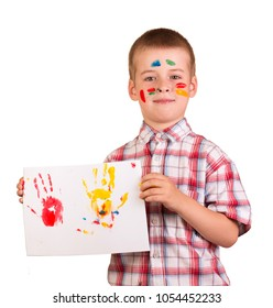 Schoolboy holding his picture isolated on white