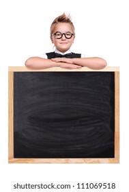 Schoolboy holding the school blackboard