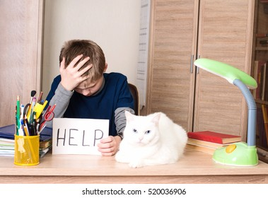 Schoolboy with learning difficulties doing home assignment. Sad and tired pre teen schoolboy sitting in stress working doing homework, asking for help with cat on his desk.
