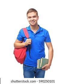 Schoolboy on white background