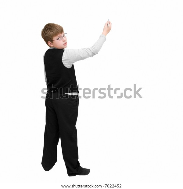 schoolboy with a pen on a white background