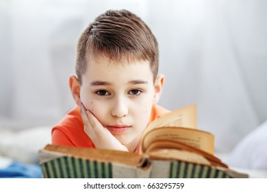 Schoolboy reading a book. The concept of children, school, learning.