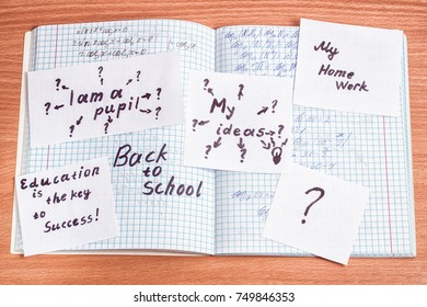 schoolboy reflection on paper sheets education concept back to school