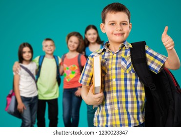 Schoolboy and school group child