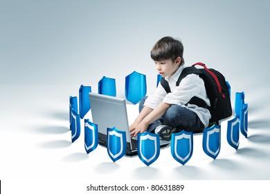 schoolboy use laptop, 3d shields background
