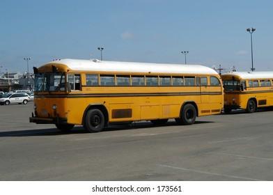 School-buses in Venice beach, California