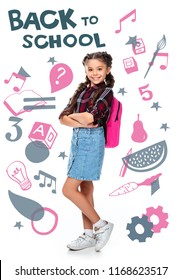 "schoolchild with pink backpack standing with crossed arms isolated on white, with icons and ""back to school"" lettering"
