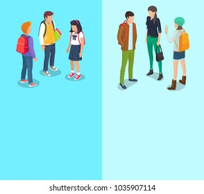 Schoolchild and student collection of posters with text. Isolated  illustration of groups of boys and girls talking during break