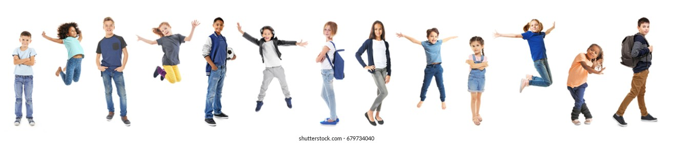 Schoolchildren of different ages on white background