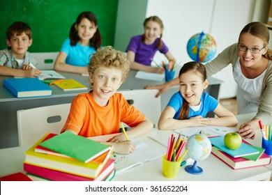 Schoolchildren at lesson
