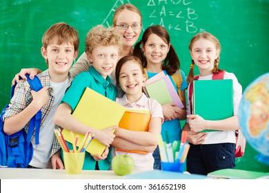 Schoolchildren with teacher