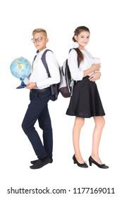Schoolchildren teen on white background