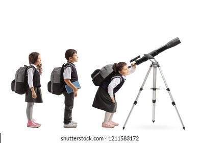 Schoolchildren waiting in line to look through a telescope isolated on white background