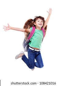 Schoolgirl with bag jumping high on white background