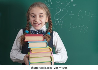 schoolgirl with a book on the background of the school board