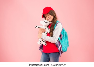 Schoolgirl daily life. Schoolgirl street style clothes. School club. Stylish schoolgirl. Casual style comfortable for spending entire day in school. Girl little fashionable cutie carry backpack.