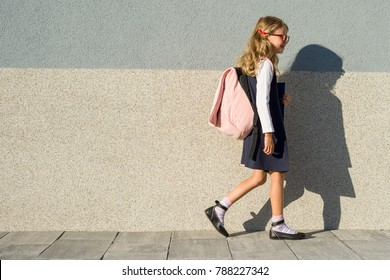 A schoolgirl of elementary school with notebooks in his hand. A girl with a backpack goes to school. Back to school