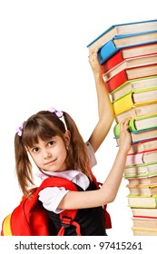 Schoolgirl with the falling pile of books. Isolated over white