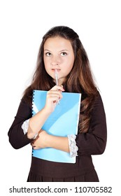 schoolgirl with a folder isolated white background