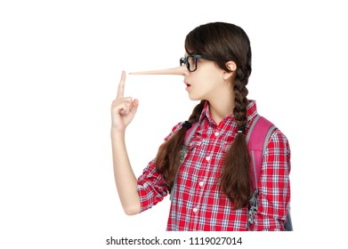 Schoolgirl got a lier long nose isolated on white