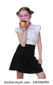 schoolgirl holding red apple on Education theme