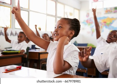 Schoolgirl raising hand during a lesson at elementary school