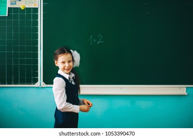 Schoolgirl stands at the blackboard with a pointer.