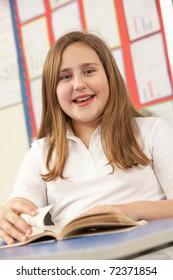 Schoolgirl Studying In Classroom