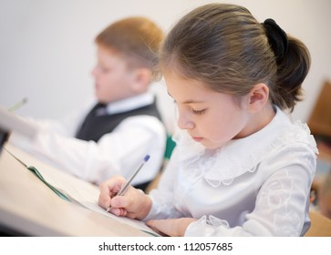 Schoolgirl writing her task with  boy sitting near by