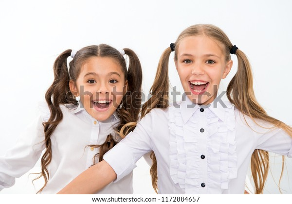 Pleasant Schoolgirls Cute Ponytails Hairstyle Brilliant Smiles Stock Photo Natural Hairstyles Runnerswayorg