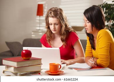 Schoolgirls studying at table at home with exercise book and laptop.?