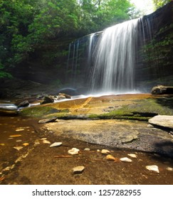 Schoolhouse Falls, a medium sized waterfall in the Appalachian Mountains.  Located in Panthertown Valley, North Carolina, on the Highlands Plateau.