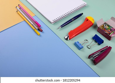 schooling concept represented by different stationary items