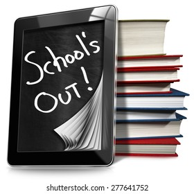 School's Out - Black tablet computer with blackboard and text School's Out, a stack of books. Isolated on white background