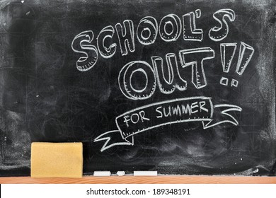 School's out for summer on blackboard