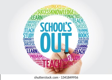 School's Out word cloud collage with marker, education concept background