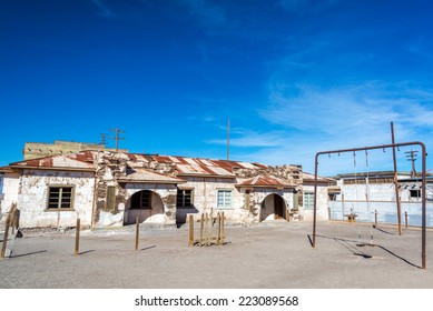 Schoolyard in the ghost town of Humberstone, Chile