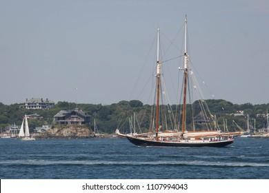 Schooner Sailing on Newport Bay - Rhode Island
