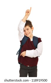 Schoool boy with hand up,he know the answer isolated on white background