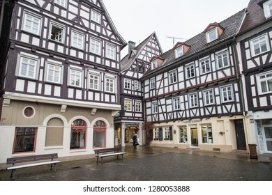 SCHORNDORF, GERMANY - JANUARY 10 2019: Half-timbered facades on the market square.
