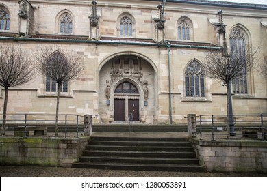 SCHORNDORF, GERMANY - JANUARY 10 2019: At the Protestant town church.