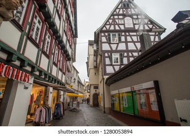 SCHORNDORF, GERMANY - JANUARY 10 2019: Alley at the Barbara Künkelin birthplace.