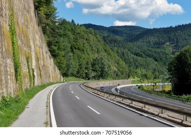 Schrauding, Austria - August, 14th, 2017. Highway between Frohnleiten and Peggau in the mountains.