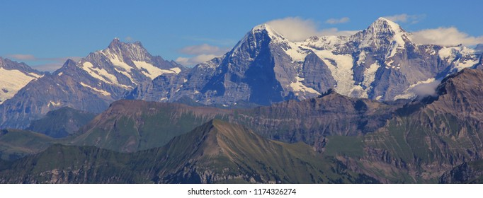 Schreckhorn, Eiger and Monch. High mountains in the Bernese Oberland.