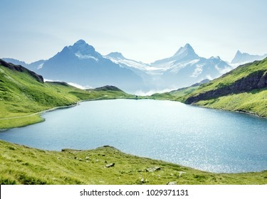 Schreckhorn and Wetterhorn from Bachalpsee lake,Bernese Oberland,Switzerland,Europe
